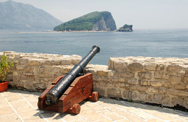 old cannon in a fortress Budva