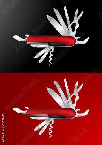 Swiss Army Knife Vector Illustration