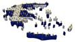 Greece map flag with many abstract people illustration