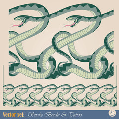 Decorative seamless pattern of interwoven snakes