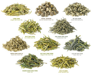 Collection of 10 famous chinese green teas