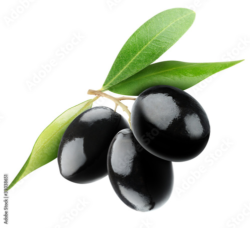 Three black olives isolated on white