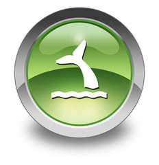 "Green Glossy Pictogram ""Whale Symbol / Whale Viewing"""