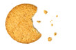 Cookie with crumbs overhead view