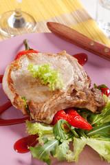 Roast pork chop and accompaniment