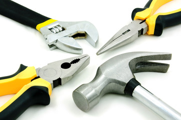 Tool kit of hammer, adjustable wrence and pliers