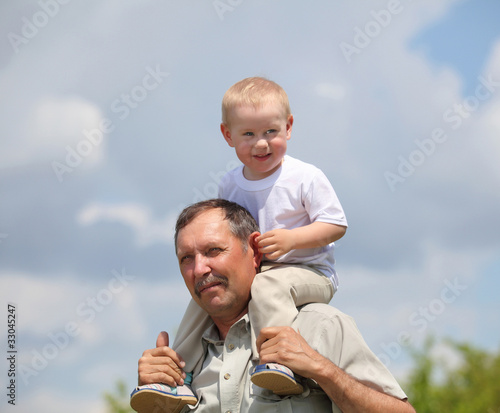 little boy with his grandfather