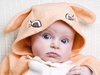 Little baby girl in bunny costume