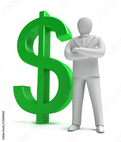 Whiteman and money sign , 3D concept