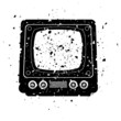 vector grungy illustration of retro tv set