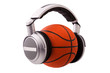 Headphones on a basketball ball, sport and music concept