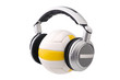 Headphones on a volleyball ball, sport and music concept