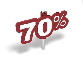 Soldes soixante dix pourcent, label 70 percent sale