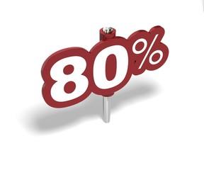 Soldes quatre vingts pourcent, label 80 percent sale