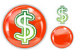 green dollar sign in red crystal marble ball
