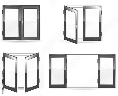 set of open and close black windows isolated on white