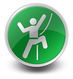"Green Glossy Icon ""Rock Climbing"""