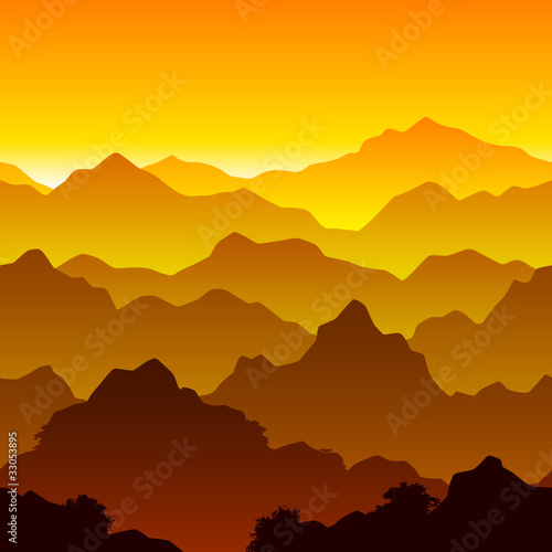 Tuinposter Algerije Mountains. Seamless illustration.