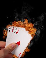 Burning Poker cards