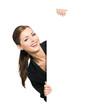 Geschäftsfrau hält  Schild