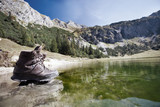 Hiking Boots on Gaisalpsee in the Alps
