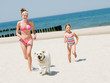 Summer vacation -  girls playing with dog on the beach