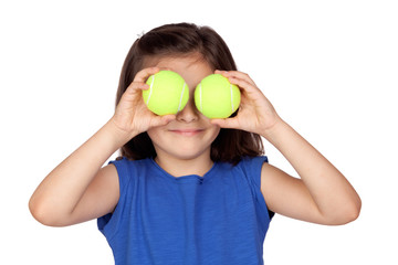 Brunette little girl with two tennis balls
