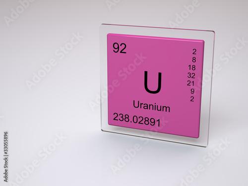 Uranium - symbol U - chemical element of the periodic tableUranium Symbol Periodic Table