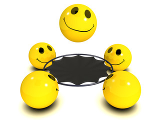 3d Smileys and their trampoline