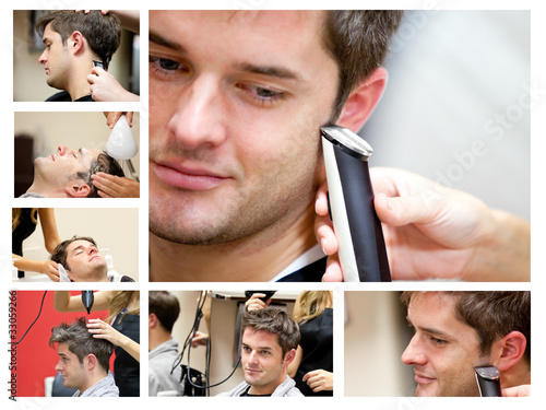 Collage of a young man at the hairdresser