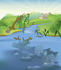 Vector river landscape with animals