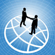 Global business people agreement handshake globe