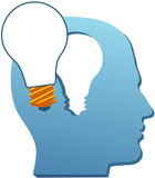Invention man mind think light bulb cut out poster