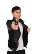 Young man with gun.