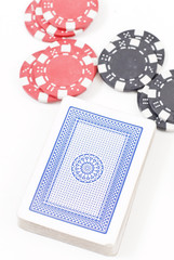 Deck with Black and Red Poker Chips