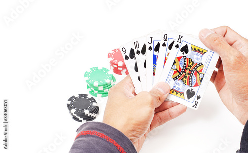 Straight Flush in Poker Players Hand