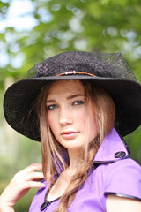 Girl in violet and black