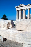 Old stones with ancient scripts near Parthenon poster