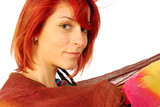 Red hair, smiling serenely poster