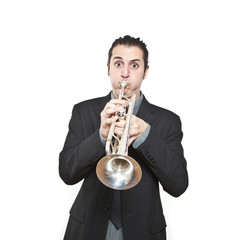 stylish jazz man playing the trumpet on white background