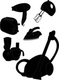 house appliances silhouette - vector illustration poster