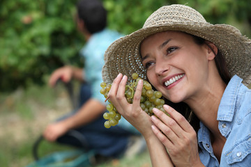 Woman during a grape harvest