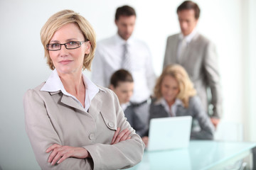 Female executive wearing glasses