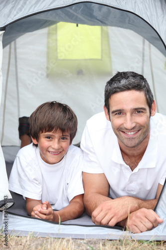 father and son at camping