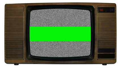 Noise on old television with green chroma banner