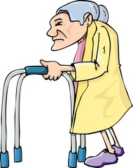 Cartoon old lady using a walking frame
