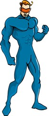 Superhero in plain blue outfit