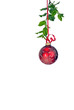 isolated hanging red ornament with holly and ribbon