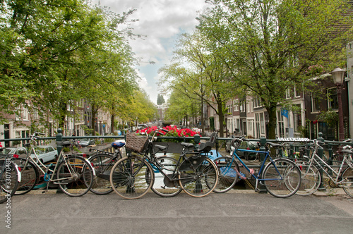 Bikes parked on a bridge in Amsterdam, Netherlands