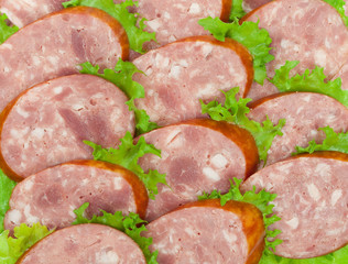 Sliced salami and lettuce